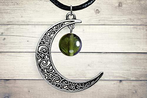 Authentic Moldavite Silver Celtic Crescent Moon Pendant...