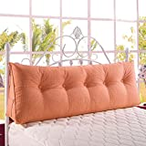 WOWMAX Triangular Reading Pillow Large Bolster Headboard Backrest Positioning Support Wedge Pillow for Day Bed Bunk Bed with Removable Cover Full Size Linen Blend Orange