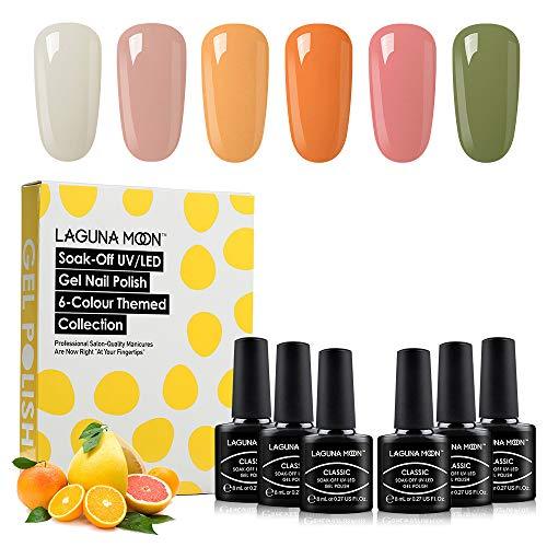 Lagunamoon Gel Nail Polish,Army Green Orange Series 6 Colors Gift Set Soak Off UV LED Nail Gel Kit 8ml Each Bottle