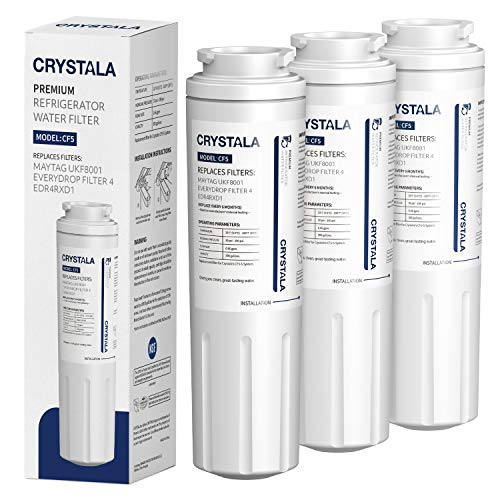 Crystala Filters UKF8001 Water Filter Compatible with Whirlpool 4396395, Filter 4, Maytag UKF8001, EDR4RXD1, UKF8001AXX, UKF8001P, Puriclean II, PH21500 Refrigerator Water Filter (3 Pack)