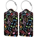 Símbolos de la música personalizada cuero maleta de lujo etiqueta Set viaje Accesorios equipaje etiquetas