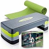 Body & Mind® Aerobic Step Board Elite 3-Step Step Bench con alfombra antideslizante gratis