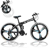 Huitrady 26'' Adults Folding Mountain Bike, 21 Speed Full Suspension High-Carbon Steel Mountain Bike,Men and Women's Outdoor Exercise Road Dual Disc Brakes Non-Slip Bikes (Black)