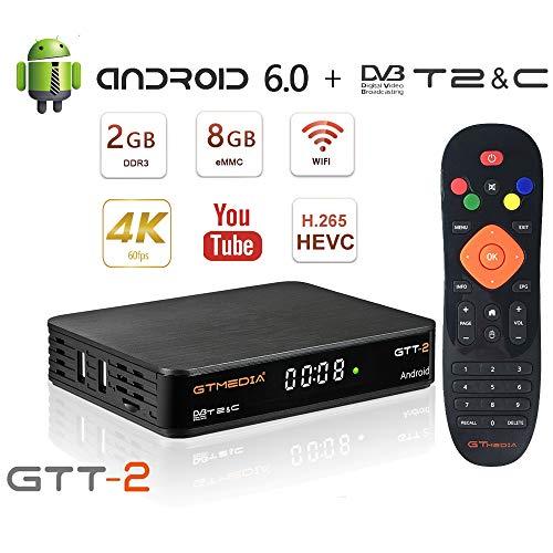 GT MEDIA GTT-2 Decodificador TDT Android 6.0 TV Box DVB-T2/C Digital Amlogic Quad Core S905D 2GB+8GB Media Player, 4K 3D HD/H.265/MPEG-4 Incorporado 2.4G WIFI, Soporte DLNA CCcam