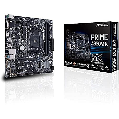 ASUS PRIME A320M-K - Placa Base AMD AM4 mATX con iluminación LED,...
