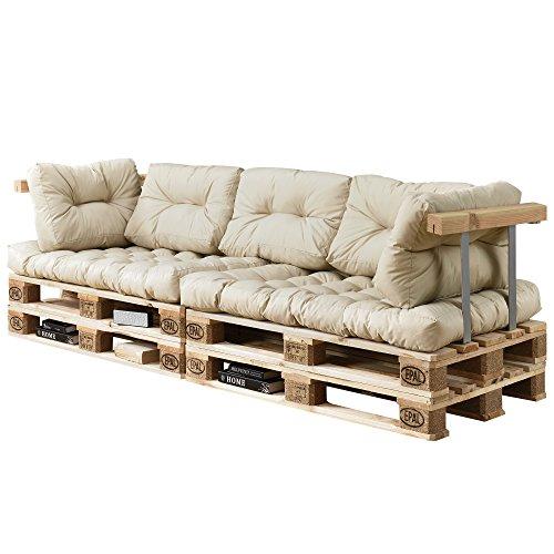 [en.casa] Divano Paletta Euro-sof - a 3 posti con Cuscino - [Crema] Set Completo incl. bracciolo e...