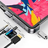 Baseus iPad Pro USB C ハブ 6in1 4K HDMI USB-C 60W PD充電 USB3.0&3.5mm ジャック SD/TFカードリーダー iPad Pro 2020 2019 2018 11 12.9 など対応 (グレー)
