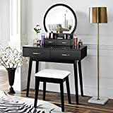 Vanity Desk with Lighted Mirror, Makeup Vanity Dressing Table with Lights, 3 Color Lighting Modes Adjustable Brightness, 4 Drawers Makeup Table with Cushioned Stool for Bedroom - Black