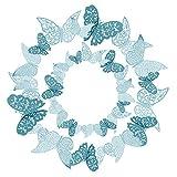 36 piezas Azul Mariposas 3D Mariposas Decorativas Pegatinas de Pared Arte Tatuajes de DIY Dormitorio...