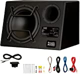 Acoustic Audio by Goldwood ACA12DWG Deluxe Powered 12' Car Ported Subwoofer 900W with Wiring Kit and Remote Level Control, Black