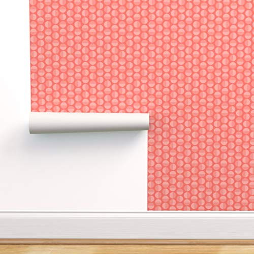 Peel-and-Stick Removable Wallpaper - Limited Palette Living Coral Pink Circles Geometric by Groundnut Apiary - 24in...