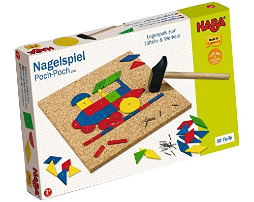 HABA Geo Shape Tack Zap Play Set - Make Geometric Designs with Corkboard, Hammer, Templates and 50 Wooden Tiles (Made in Germany)