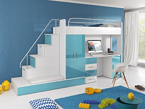 Hochbett TOMI - Schreibtisch, Schrank, Treppe und Gästebett mit Hochglanz-Fronten in weiß / schwarz / rosa / grau / lila / blau (blau)