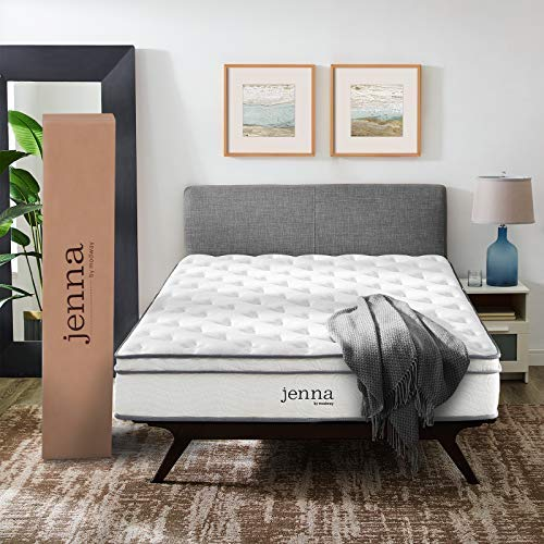"""Modway Jenna 10"""" Queen Innerspring Mattress Quality Quilted Pillow Top-Individually Encased Pocket Coils-10-Year Warranty, Queen, White"""