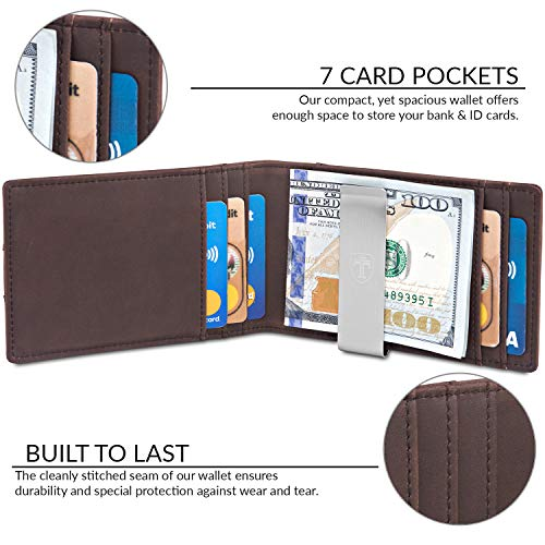 TRAVANDO Money Clip Wallet ATLANTA Mens Front Pocket Slim RFID Blocking – Credit Card Holder – Mini Bifold, Vintage Brown