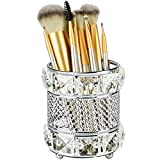 Tasybox Crystal Makeup Brush Holder Organizers for Vanity, Handcrafted Cosmetics Brushes Cup Storage, Silver