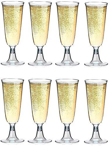 Bicchieri da Champagne/Spumante in Plastica - 50 Pezzi - Flutes Monouso - 100 ml - A Prova di Rottura - Altezza 16 cm