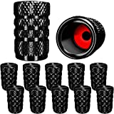 SAMIKIVA (12 Pack) Aluminum Tire Valve Stem Caps, Metal with Rubber Ring, Dust Proof Cover Universal fit for Cars, SUVs, Bike and Bicycle, Trucks, Motorcycles Metal ((12 Pack) Black)