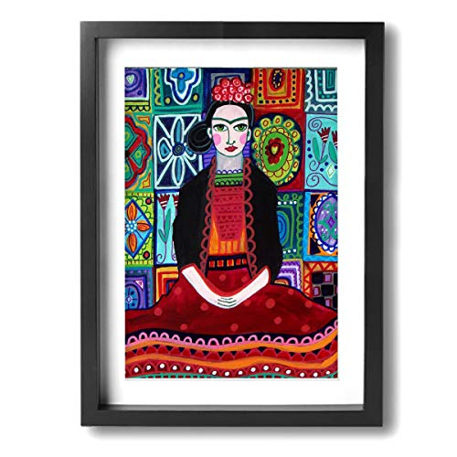 Pintura C Frida Kahlo Mexicana Folk Arte de Pared Pintura Paisaje Lienzo Impresiones enmarcadas para decoración del hogar 12 x 16 Pulgadas, Madera, Negro, Talla única