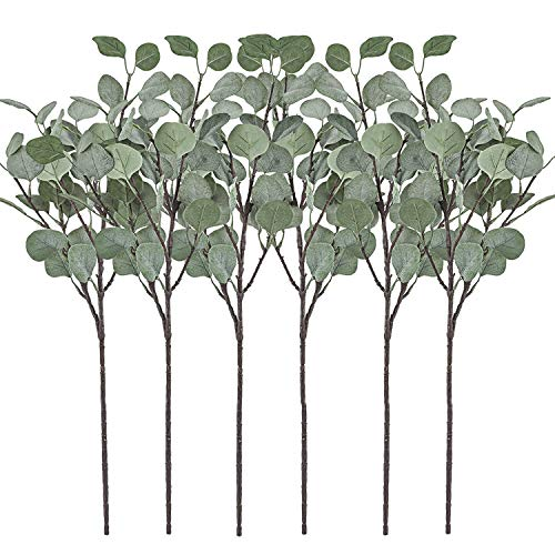 Artificial Greenery Stems 6 Pcs Straight Silver Dollar Eucalyptus Leaf Silk Greenery Bushes Plastic Plants Floral Greenery Stems for Home Party Wedding Decoration (Grey Green)