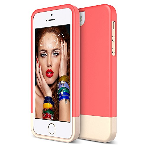 iPhone 5S Case, Maxboost [Vibrance Series] for Apple iPhone 5S / 5 Case Protective Soft-Interior Slider Style Hard Cases Cover - Italian Rose/Champagne Gold