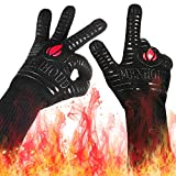 Landteek BBQ Grilling Gloves, 1472°F Extreme Heat Resistant Grill Gloves, 14' Food Grade Kitchen Oven Mitts,Silicone Non-Slip Cooking Hot Glove for Barbecue,Welding, Baking,Cutting