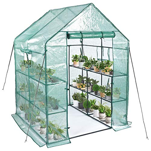 Greenhouse, Mini Greenhouse Indoor&Outdoor with PE cover, 3 Tiers 8 Shelves Stands Greenhouse Include Anchors and Roll-Up Zipper Door, Portable Plant Gardening Greenhouse(56'×56'×76')