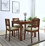 Nisha Furniture Sheesham Wooden Dining Table 4 Seater   Balcony Dining Table Set with 4 Chairs   Home Dining Room Furniture   Beige Cushion   Natural Brown Finish