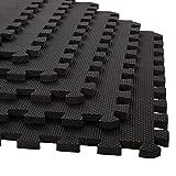 Stalwart Foam Mat Floor Tiles, Interlocking EVA Foam Padding Soft Flooring for Exercising, Yoga, Camping, Kids, Babies, Playroom – 6 Pack, 24' X 24' X 0.5', Black, Model:75-ST6001