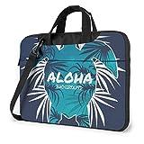 Maletín bandolera para portátil de 15,6 pulgadas, diseño de tortuga Aloha con silueta de hoja de palma