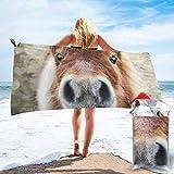 Lawenp Toalla de Playa de Secado rápido, Microfibra con Estampado de Caballos y Rosas Toallas de baño Ligeras súper absorbentes para niños y Adultos 31.5 'X63'