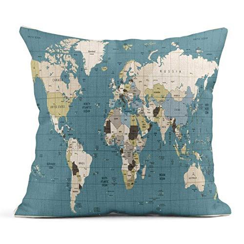 Cojín Marrón Vintage Mapa del Mundo Colores Antiguos Países Ciudades Agua Todos están Separados en Capas Cojín de Lino Azul Marino claramente etiquetado Almohada Decorativa para el hogar