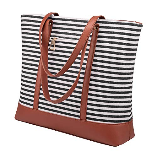 510kg+gZQsL 【MATERIAL】High quality material, be made of PU leather and canvas,Bottom PU material make the causal tote more durable,on the outside is canvas. 【SIZE】16.5in*11.8in*3.9in(L*H*W),handle strap can length up to 9in,large capacity shoulder bag is a perfect size to hold book,laptop,ipad,waterbottle and so on. 【STRUCTURE OF TOTE BAG】Internal has two main compartment and a big zipper pocket.A small zipper pocket can hold valuables such as wallet and cellphone,and two open pocket easy access to items.Add an external zip pocket,is a well organized and perfect size top handle satchel.