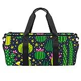 Bolsa de deporte de 45,72 cm, bolsa de viaje con compartimento de bolsillo húmedo para hombres y mujeres, ligera, diseño de flores de cactus de dibujos animados