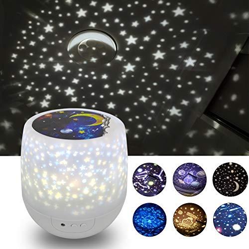 Lampada notturna per bambini con proiettore e luci colorate, rotazione a 360 gradi, dimmerabile, con...