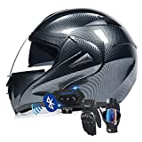 UOLSO Flip Up Front Motorbike Helmet ECE/DOT Bluetooth Modular Full Face Motorcycle Helmets with Touch Gloves HD Dual Lens Visor Double Visors Adjustable for Adults 55-62cm