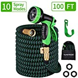 Vansware Garden Hose Expandable, 100FT Flexible Water Hose 10 Function Spray Nozzle Solid Brass Fittings On/Off Valve Leakproof Lightweight Extra Strength Fabric Expanding Hose for Watering/Washing