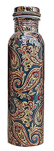 R Ayurveda Copper Copper Water Bottle, 1000ml, Set of 1, Green Print
