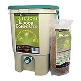 SCD Probiotics All Seasons Indoor Composter, Easy Start Countertop Kitchen Compost Bin with Bokashi - Easily Compost Indoors, Low Odor, Beginner Friendly - K100 Tan, 5 gal