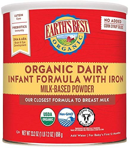 Earth's Best Organic Dairy Infant Powder Formula with Iron,...