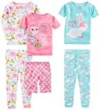 Simple Joys by Carter's Toddler Girls 6-Piece Snug Fit Cotton Pajama Set, Bunny/Animals Green, 5T