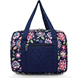 Bible Covers for Women, Quilted Bible Case Blue Floral Cotton Cloth with Handle and Cross Emblem Zipper Pocket, Large 10x7x2.7 Inches
