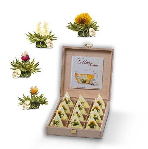 Creano Teelini Teeblumen im Tassenformat, Geschenkset in Teekiste aus Holz, 12 ErblühTeelini in 4...