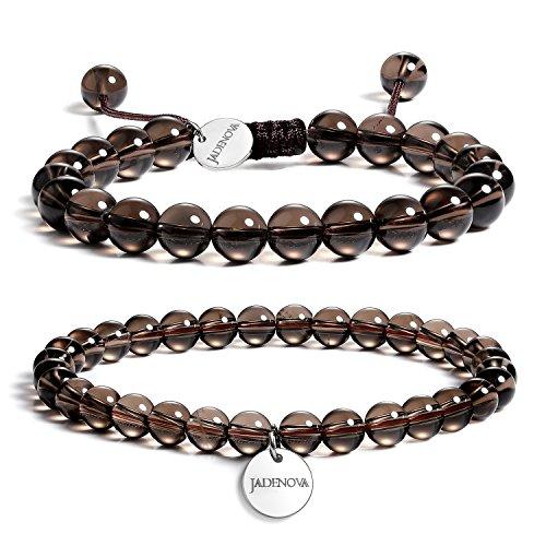 JADENOVA 6/8mm Natural Smoky Quartz Gemstone Bracelets Round...