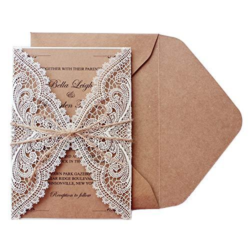 "Picky Bride 50 Pcs Rustic Laser Cut Lace Wedding Invitations Kits, 5"" x 7.3"", Rustic Kraft Blank Invitations for Wedding, Bridal Shower, Engagement, Anniversary Invite"