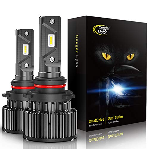 CougarMotor LED Bulbs All-in-One Conversion Kit - 9006-10000Lm 6000K Cool White, Halogen Replacement, Quick Installation Low Fog Light