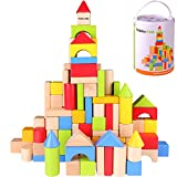 Pidoko Kids Wooden Building Blocks Set - 100 Pcs - Includes Carrying Container - Hardwood Plain &...