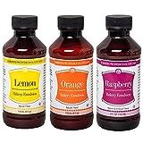 Lorann Bakery Emulsion Variety pack - one 4 ounce bottle of each Lemon, Orange and Raspberry