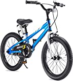 RoyalBaby Boys Girls Kids Bike 18 Inch BMX Freestyle 2 Hand Brakes Bicycles with Kickstand Child Bicycle Blue
