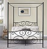 VECELO 4 Corner Metal Canopy Bed Frame, Platform Mattress Foundation, Four Corner Bedding Mosquito Netting Bracket, No Box Spring Needed (Black, Queen)
